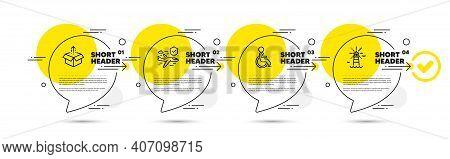 Flight Insurance, Disabled And Send Box Line Icons Set. Timeline Infograph Speech Bubbles. Lighthous