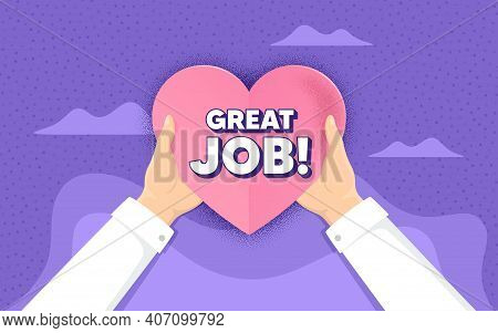 Great Job Symbol. Charity And Donate Concept. Recruitment Agency Sign. Hire Employees. Hands Holding