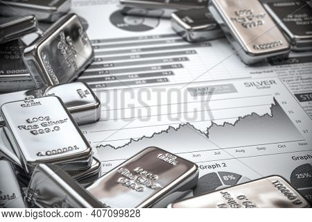 Growth of silver on stock market concept. Silver bar and ingots on chart of financial report. 3d illustration