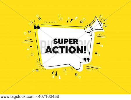 Super Action Symbol. Megaphone Yellow Vector Banner. Special Offer Price Sign. Advertising Discounts