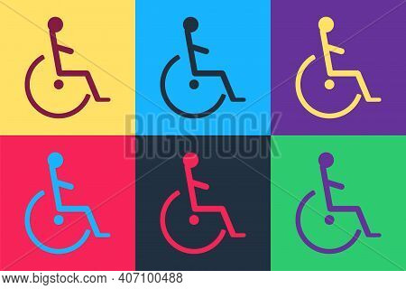 Pop Art Disabled Handicap Icon Isolated On Color Background. Wheelchair Handicap Sign. Vector