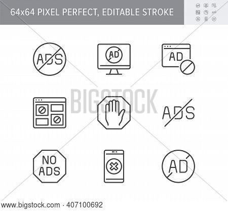 Ads Block Line Icons. Vector Illustration With Minimal Icon - Website Adblock, Anti Spam Digital Shi
