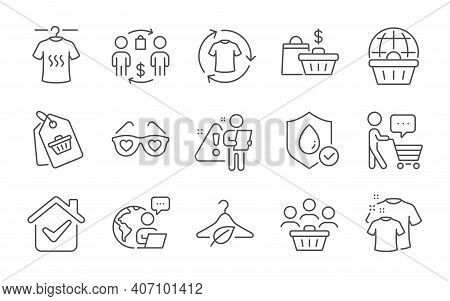 Clean T-shirt, Love Glasses And Slow Fashion Line Icons Set. Sale Bags, Buyer Think And Buyers Signs