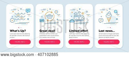 Set Of Holidays Icons, Such As Waves, Bus Travel, Refresh Cart Symbols. Mobile App Mockup Banners. I
