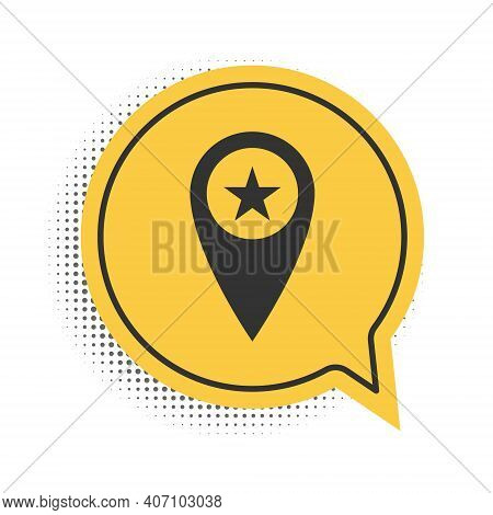 Black Map Pointer With Star Icon Isolated On White Background. Star Favorite Pin Map Icon. Map Marke