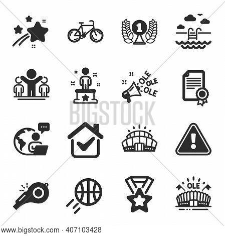 Set Of Sports Icons, Such As Winner, Arena Stadium, Winner Ribbon Symbols. Certificate, Basketball,