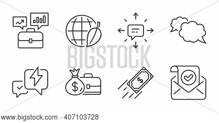Sms, Messenger And Business Portfolio Line Icons Set. Confirmed Mail, Fast Payment And Lightning Bol