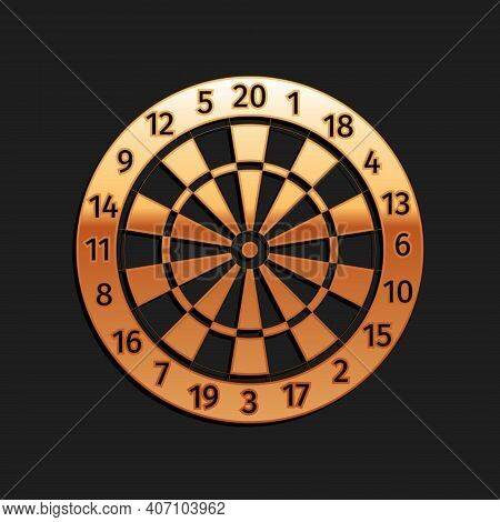 Gold Classic Darts Board With Twenty Black And White Sectors Icon Isolated On Black Background. Dart