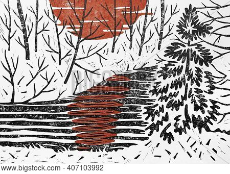Sundown In Winter Forest. Color Linocut Illustration