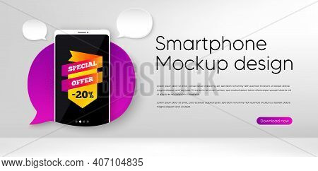 Special Offer Banner. Mobile Phone Vector Mockup. Discount Sticker Shape. Sale Coupon Bubble Icon. S