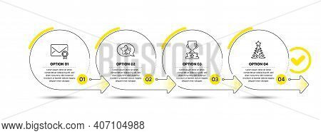 Star, Winner Cup And Verified Mail Line Icons Set. Timeline Process Infograph. Christmas Tree Sign.