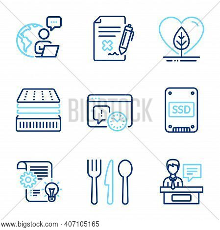 Business Icons Set. Included Icon As Project Deadline, Food, Cogwheel Signs. Ssd, Reject File, Exhib