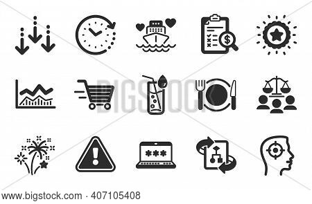Fireworks, Laptop Password And Winner Star Icons Simple Set. Technical Algorithm, Scroll Down And De