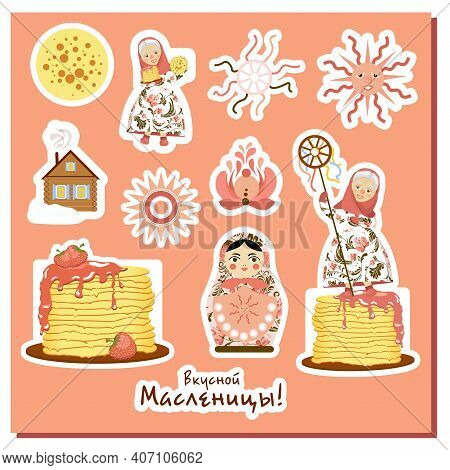 Shrovetide Stickers. Russian Spring Holiday. Spring Meeting. Maslenitsa Week. Inscription In Russian
