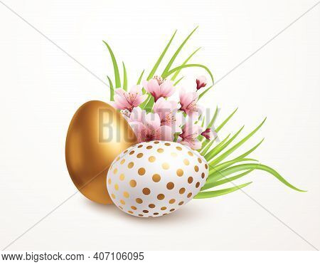 Happy Easter Greeting Background With Realistic Easter Eggs And Spring Flowers. Vector Illustration