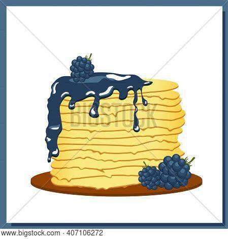 Pancakes. Blackberry Jam. Maslenitsa Week. Spring Festival Meeting. Pancakes Glazed On White Plate.