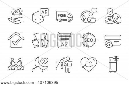 Refrigerator, Change Card And Seo Line Icons Set. Security Agency, Skin Care And Move Gesture Signs.