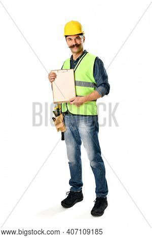 Construction worker with moustache holding clipboard on hand over white background