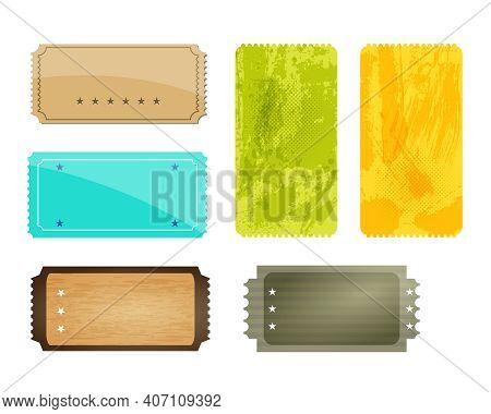 Set Of Different Design Colored Stickers Or Detachable Coupons. Jpeg Illustaration