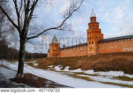 Veliky Novgorod, Russia, Kremlin Towers - Early Spring View. Veliky Novgorod Kremlin Fortress In Spr