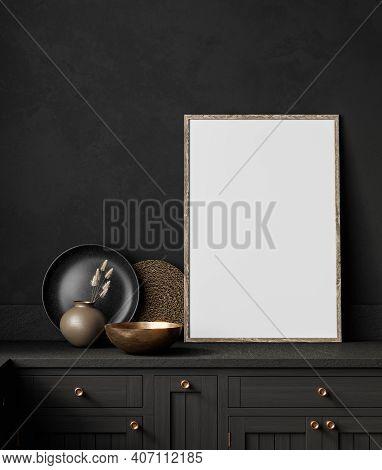 Black Kitchen Interior With Decor And Frame. 3d Render Illustration Mock Up.
