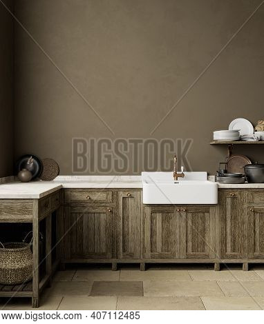 Brown Kitchen Interior With Sink, Furniture, Dishes And Decor. 3d Render Illustration Mock Up.