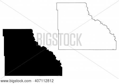 Big Horn County, State Of Wyoming (u.s. County, United States Of America, Us) Map Vector Illustratio