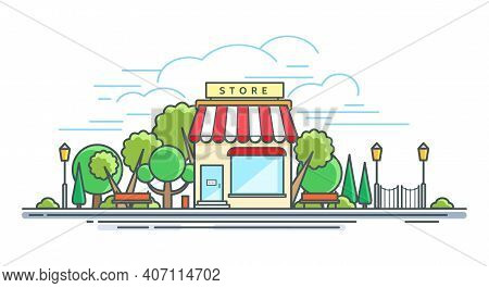 Line Modern Storefront. Linear Store Front On Street Concept, Shop Or Commercial Boutique Exterior,