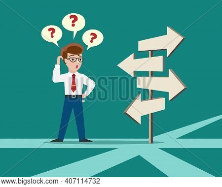 Crossroad Direction Choice. Confused Person Crossroads Standing, Business Solution Concept, Characte