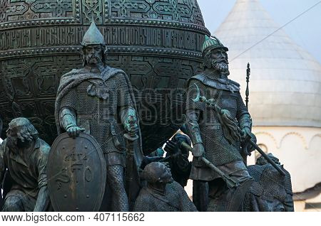 Veliky Novgorod Russia - October 11, 2019. Sculptures Of The First Prince Rurik And Dmitry Donskoy A