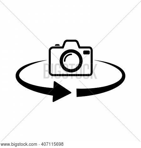 Photo Camera Rotation Icon. 360 Degree Rotation. Black Camera Icon. Vector Illustration.