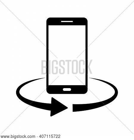 Phone Rotation Icon. 360 Degree Rotation. Black Smartphone Icon. Service Symbol. Vector Illustration