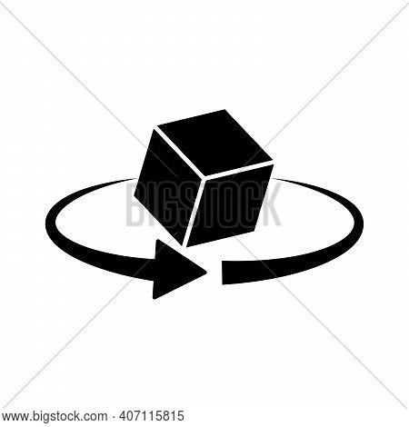 3d Rotation Icon. 360 Degree Rotation. Black Cube Icon Isolated. Vector Illustration.