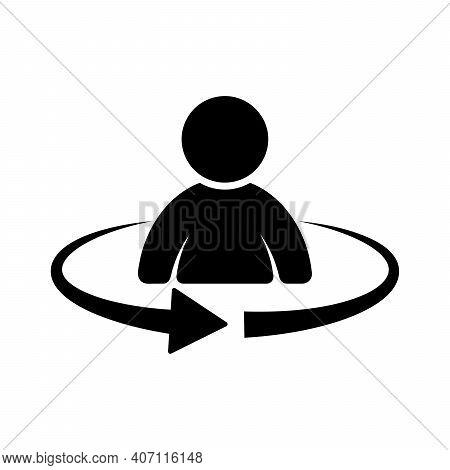 Man Rotation Icon. 360 Degree Rotation. Black Man Icon. Location Symbol. Vector Illustration.
