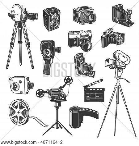 Film Studio Equipment, Movie Shooting Retro Vector Icons, Vintage Photo And Video Camera, Film Reel