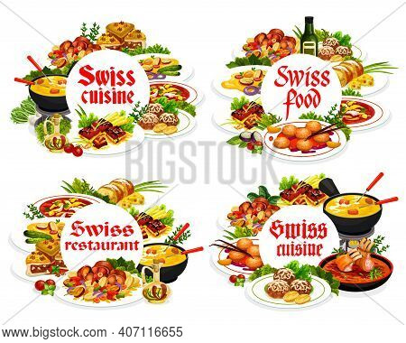 Swiss Cuisine Round Frames Vector Cheese Pie, Ragu Salmi, Grizon Lamb. Busseco Soup, Raclette With P