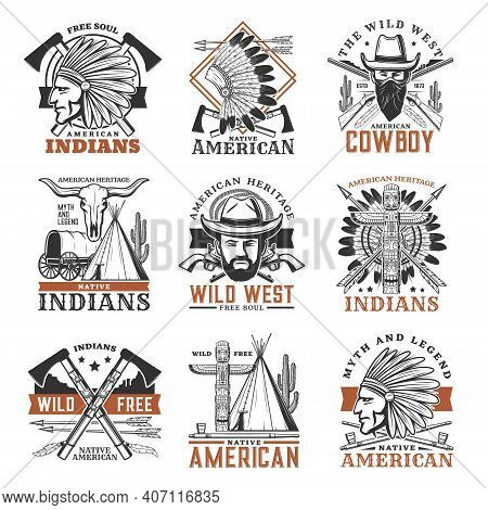 Wild West Cowboy, American Indians Icons. Indian Warrior In War Bonnet, Cowboy Bandit In Mask And To
