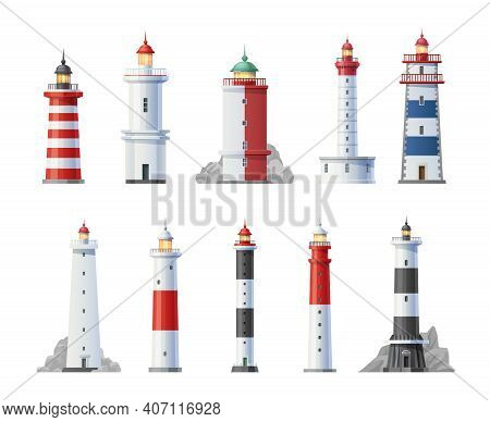 Old Lighthouses Towers Buildings Cartoon Set. Sailing Navigation Safety Signal Light On Shore Rock,