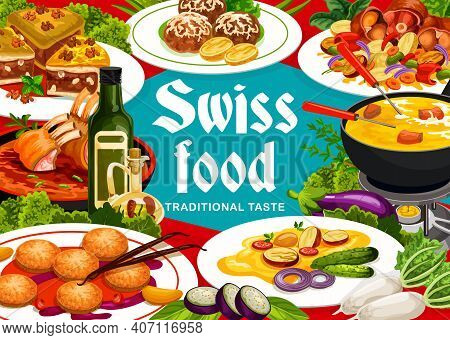 Swiss Cuisine Vector Grizon Lamb, Raclette With Potatoes, Sable Breton Cookies, Cheese Dumplings Fro