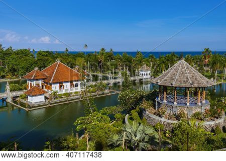 Water Palace Taman Ujung in Bali Island Indonesia - travel and architecture background