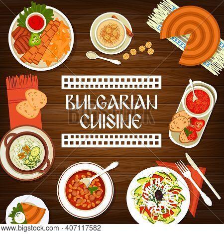 Bulgarian Cuisine Restaurant Dishes Banner. Pork Kebapche, Rice Pudding And Cheese Pie Banitsa, Toma
