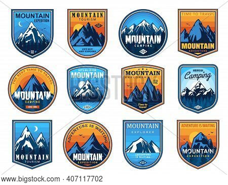 Mountain Tourism And Rock Climbing Vector Icons Set. Rocks Top And Snowy Peaks Travel Emblems, Steep