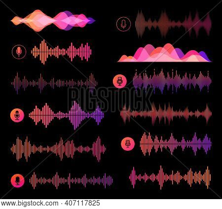 Voice Recognition Soundwaves Vector Design Of Ai And Smart Technologies. Microphone Buttons, Persona