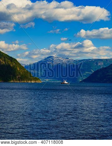 Fjord Landscape With Ferry Boat In Norway, Scandinavia Europe. Tourism Vacation And Cruising.