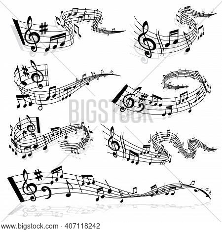 Music Wave With Notes And Treble Clef Symbols On Staff Lines Vector. Melody And Sound Flow, Sound Ha
