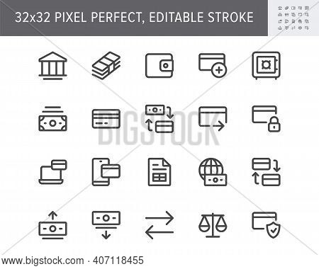 Finance Banking Simple Line Icons. Vector Illustration With Minimal Icon - Wallet, Bunch Cash, Credi