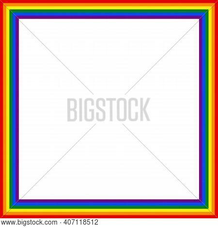 Flag Lgbt Icon, Squared Frame. Template Design, Vector Illustration. Love Wins. Lgbt Logo Symbol In