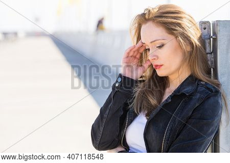 Sad Unhappy Young Woman Walking Alone The City Street. Mental Health, Depression Or Solitude Concept