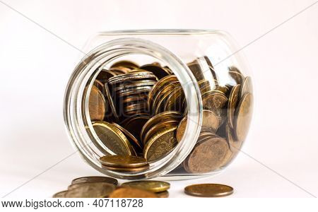 Metal Coins In A Glass Jar. Keeping Personal Savings. Financial Crisis, Ruble Devaluation. Copy Spac