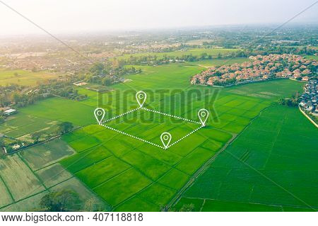 Land Plot In Aerial View. Include Landscape, Real Estate, Green Field, Agricultural Plant, Pin Locat
